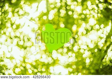 Photo Of Bokeh Lights Out Of Focus Blurred Background Bright Green. Spring Boke. Abstract Summer Tex