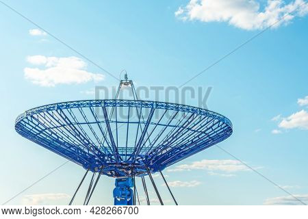 Satellite Blue Dish For Satellite Communications Sky On Roof