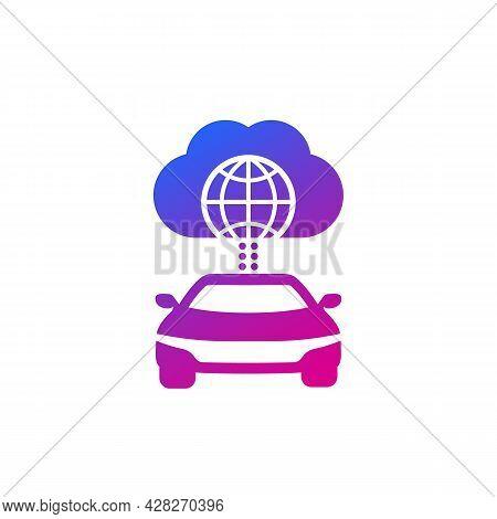Autonomous Car, Connected To Cloud Icon, Vector