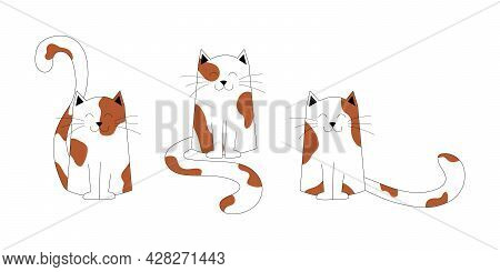 Cats With Red, Brown Spots And Black Outline, Isolated On A White Background. Kittens Characters, Cu
