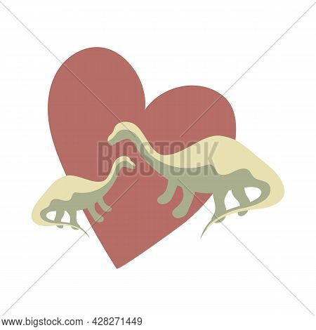 Two Green Dinosaurs With Red Heart Background, Animal Protection, Animal Love Theme, Dinosaur Family