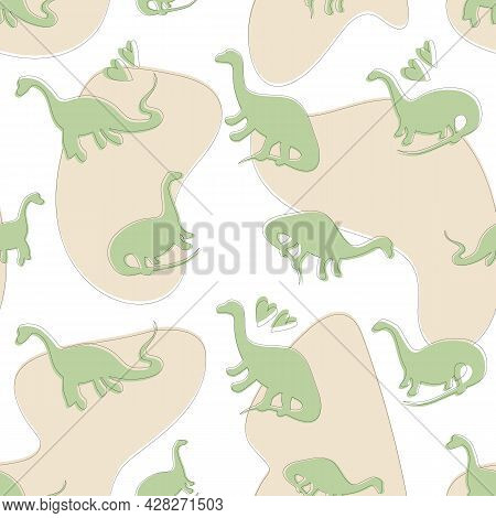 Cute Seamless Dinosaur Pattern With Beige Spots, Hearts. Children's Print With Green Dinosaurs, Baby