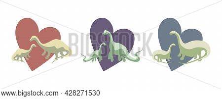 Simple Set - Two Green Dinosaurs With Heart Background, Animal Protection, Animal Love, Dinosaur Fam