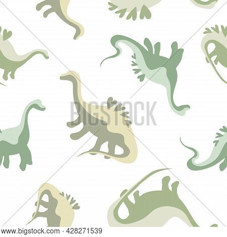 Cute Seamless Dinosaur Pattern With Hearts On Their Backs. Children's Print With Green Dinosaurs, Ba