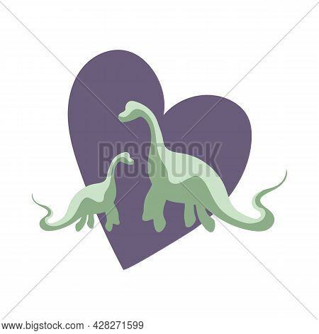 Two Green Dinosaurs With Purple Heart Background, Animal Protection, Animal Love Theme, Dinosaur Fam