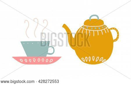 Cute Hand Drawn Teapot Or Kettle For Brewing Tea And Cup On Saucer Vector Set
