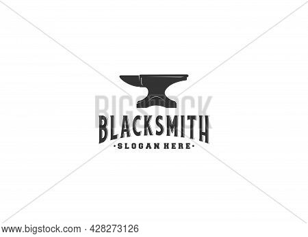 Blacksmith Iron Anvil Foundry To Costuming Metal Logo In White Background