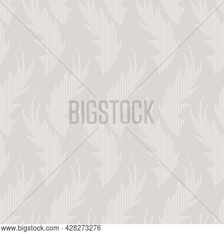 Hand Drawn Flame Shape Leaf Seamless Pattern. Neutral Blended Vector Vintage Retro Stripe Foliage Ba