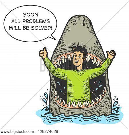Big Shark Eat An Optimistic Person Color Sketch Engraving Vector Illustration. T-shirt Apparel Print
