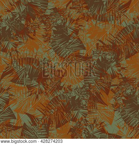 Cordyline Leaf Abstract Seamless Vector Pattern Background. Tropical Spiky Foliage Backdrop In Ochre