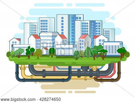 Pipeline For Various Purposes. City Engineering Network. Underground Part Of System. Isolated Illust