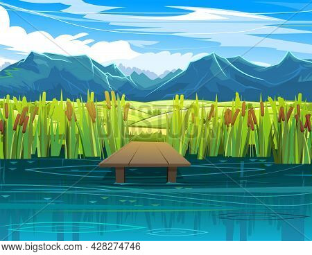 Pier For Fishing On Coast Of River Or Lake. Wild Pond. Summer Landscape. Vegetable Garden Meadows An