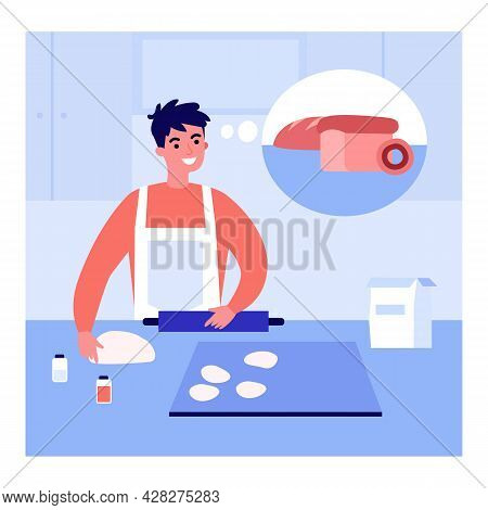Young Man In Apron Making Dough For Bread In Kitchen At Home. Male Character Thinking Of Baked Loaf