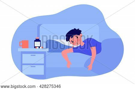 Sick Boy Lying In Bed Flat Vector Illustration. Child With Thermometer In His Mouth, Under Blanket,