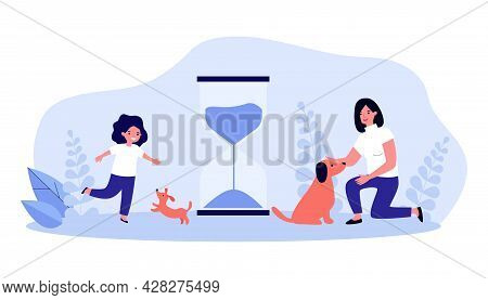 Puppy And Little Girl Growing Up Together. Flat Vector Illustration..hourglass, Symbol Of Time, Adul