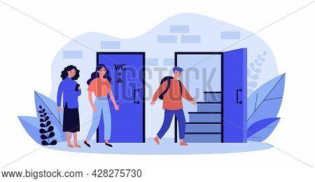 Queue To Men And Women Restrooms. Flat Vector Illustration. Women Waiting At Door While Man Entering