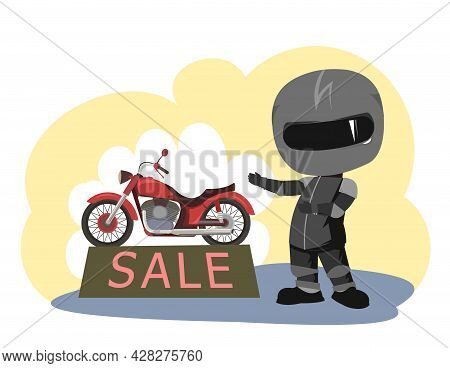 Biker Cartoon. Child Illustration. Sells. Sports Uniform And Helmet. Cool Motorcycle. Chopper Bike.
