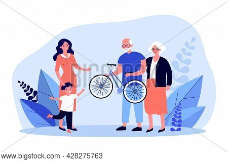 Grandfather And Grandmother Giving Their Grandson Bicycle. Flat Vector Illustration. Mom And Son Rej