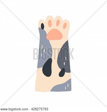 Cute Cat S Paw With Soft Tender Pads. Feline Animal S Hand Raised Up, Gesturing Hi. Adorable Funny F