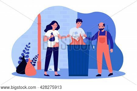 Homeless People Warming Themselves Around Fire In Trash Can. Flat Vector Illustration. Woman And Men