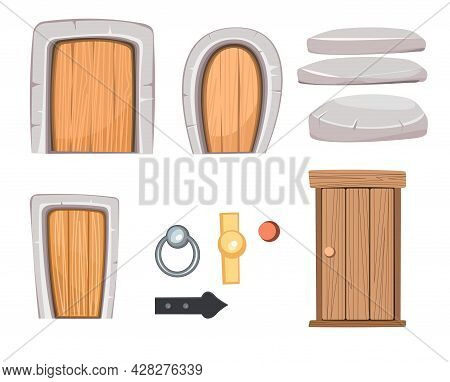Door Is Closed And Doorknobs. Doorway Of House Or Apartment. Set. Stone Finishing. Entrance Is Outsi