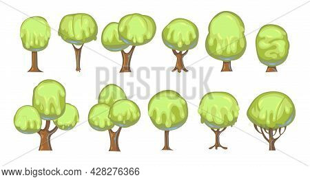 Set Of Fabulous Sweet Trees. For Landscapes With Green Caramel, Ice Cream Or Jelly. Perspiration. Ch