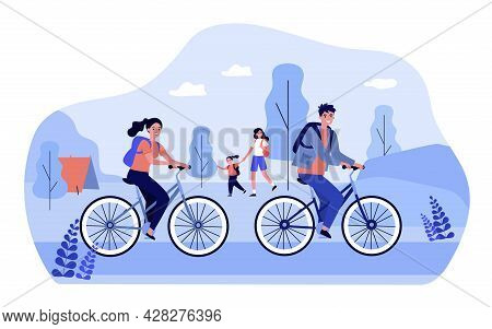 People With Backpacks Enjoying Nature. Flat Vector Illustration. Couple On Bicycles, Daughter With M