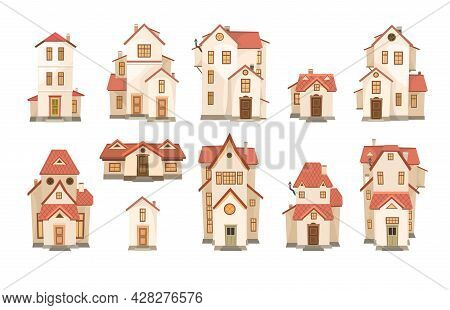 A Large Set Of Cartoon White Houses With A Red Roof. A Beautiful, Cozy Country House In A Traditiona