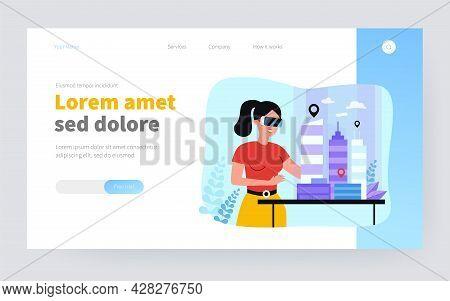 Female Architect Engineer Building 3d City Model In Digital Glasses Flat Vector Illustration. Cartoo