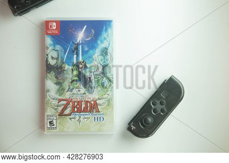 Samut Prakan, Thailand - July 29, 2021: A Box Of The Legend Of Zelda : Skyward Sword Game, New Versi