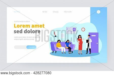 Pregnant Women Waiting In Queue To Doctor Office Flat Vector Illustration. Cartoon Ladies In Hospita