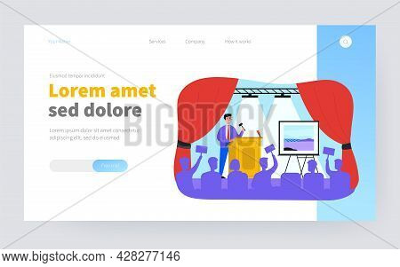 Crowd Of Buyers Bidding At Auction Isolated Flat Vector Illustration. Cartoon Man Standing Near Pict