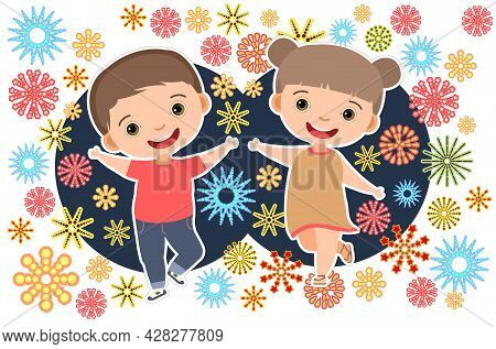 Child With Salute. Little Boy And Girl. Fireworks At Birthday Party. Kid Is Jumping For Joy At Party