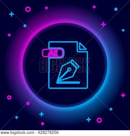 Glowing Neon Line Ai File Document. Download Ai Button Icon Isolated On Black Background. Ai File Sy