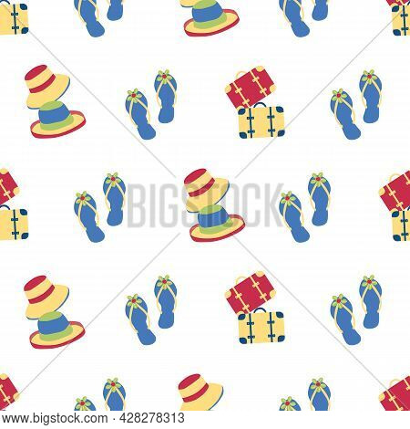 Vector Travel Fun Seamless Pattern Background With Flip Flops, Hats, Suitcases, Tropical Fun Repeat