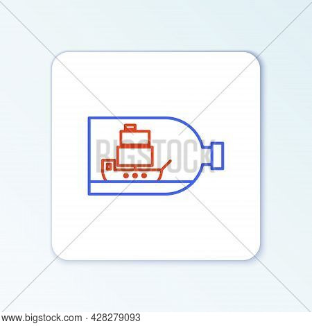 Line Glass Bottle With Ship Inside Icon Isolated On White Background. Miniature Model Of Marine Vess