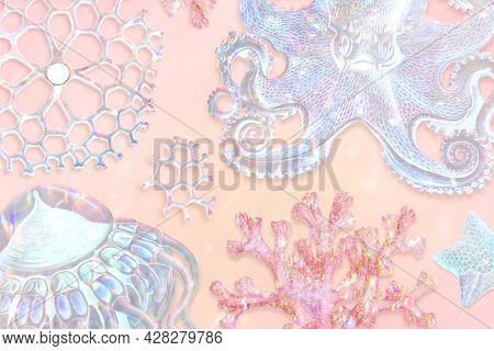 Set of holographic marine life background design resource