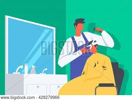 Hair Cutting In Salon Illustration, A Man Doing Stylist Haircut In Barber Shop