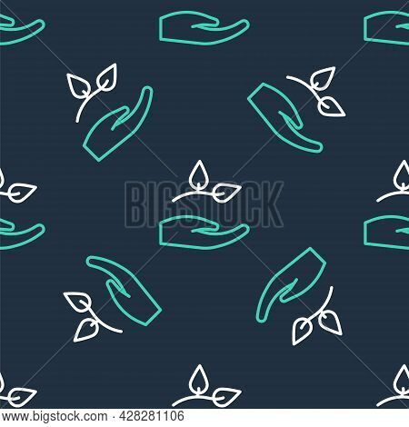 Line Leaf In Hand Of Environmental Protection Icon Isolated Seamless Pattern On Black Background. Se