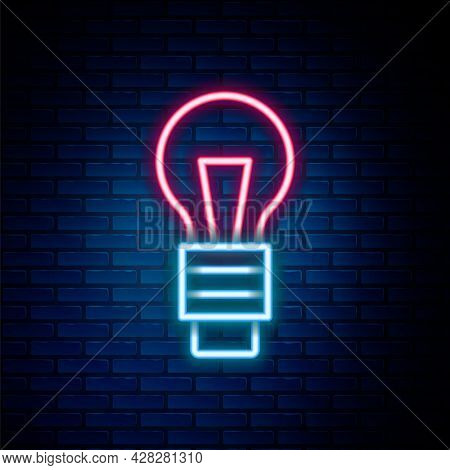 Glowing Neon Line Light Bulb With Concept Of Idea Icon Isolated On Brick Wall Background. Energy And