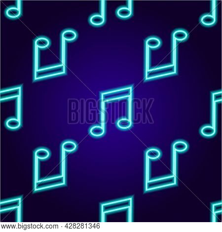 Vector Neon Signboard Pattern Of Musical Tone, Vector Seamless Pattern Of Neon Musical Tone, Blue Co