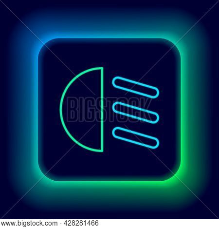 Glowing Neon Line High Beam Icon Isolated On Black Background. Car Headlight. Colorful Outline Conce
