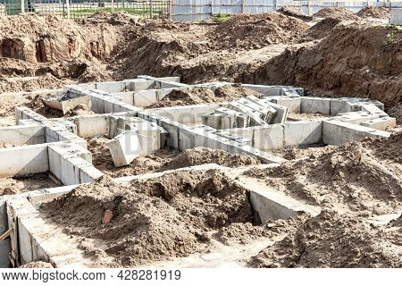 Strip Foundation From Large Reinforced Concrete Blocks During The Construction Of A House. Reliable