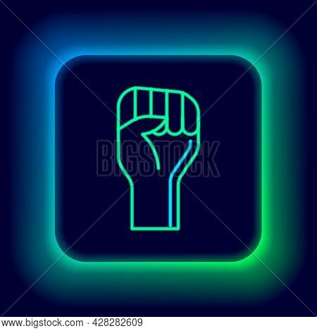 Glowing Neon Line Raised Hand With Clenched Fist Icon Isolated On Black Background. Protester Raised