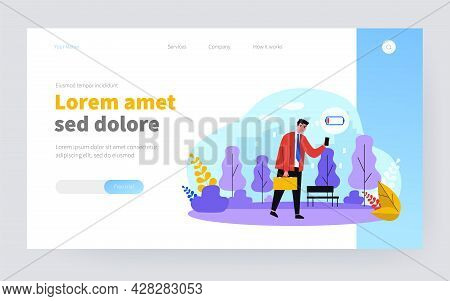 Unhappy Businessman Walking With Cellphone Out Of Battery. Man With Low Energy Level Flat Vector Ill