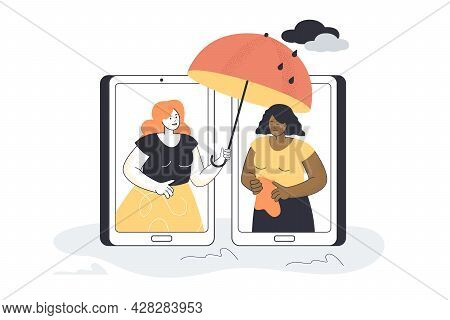 Woman Giving Support To Sad Female Friend Over Phone. Character With Umbrella Helping Black Girl Wit