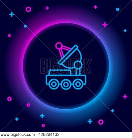 Glowing Neon Line Mars Rover Icon Isolated On Black Background. Space Rover. Moonwalker Sign. Appara