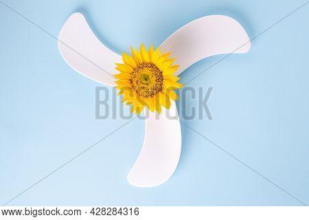 Ventilation Fan With Sunflower. Eco Green Energy Environmental Friendly Power Technology Data. High