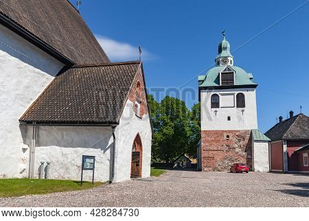 Porvoo, Finland - June 12, 2015: Bell Tower Of The Porvoo Cathedral Of The Evangelical Lutheran Chur