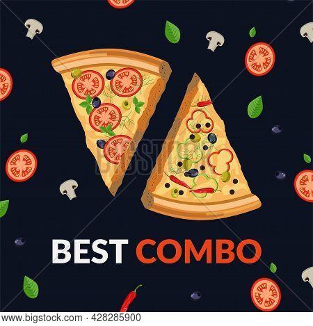 Best Combo, Combination Of Pizza Tastes Vector